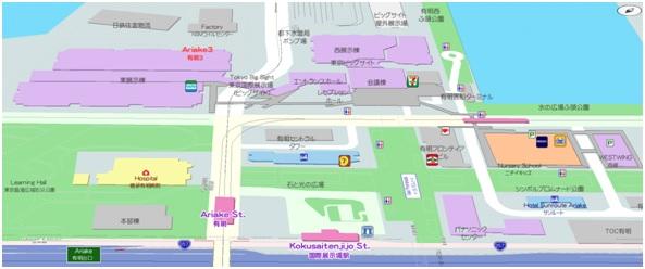 MappleAPI 多言語マップ「国際展示場駅からビッグサイト方向を望むバードビュー」